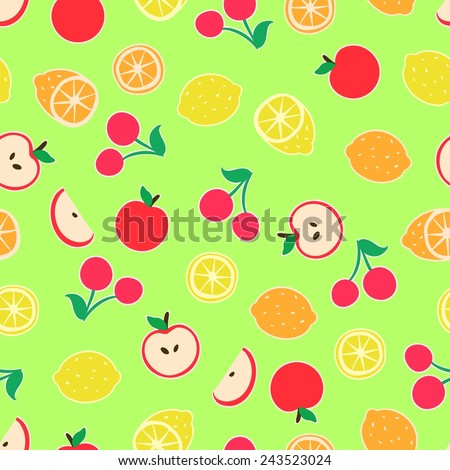 Seamless green background with a pattern with funny cartoon fruits and berries. Orange, lemon, cherry, apple