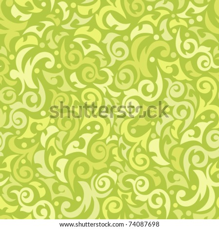 Seamless green background with monograms - stock vector