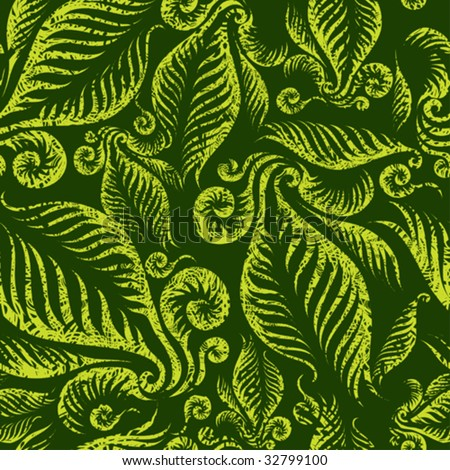 "Seamless green floral pattern with twirled grunge fern leafs (From my big ""Seamless collection"") - stock vector"