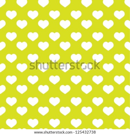 Seamless green heart pattern - valentine wrapping design - stock vector