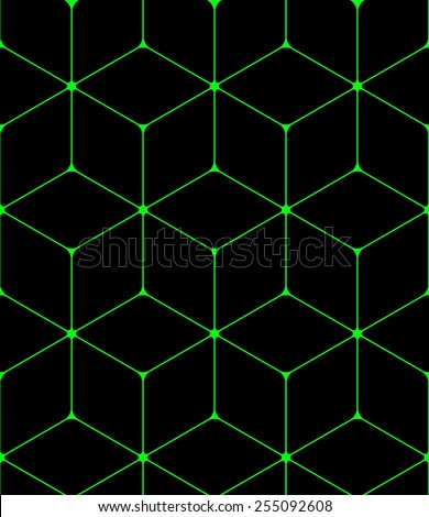 Seamless green hexagon pattern  - stock vector