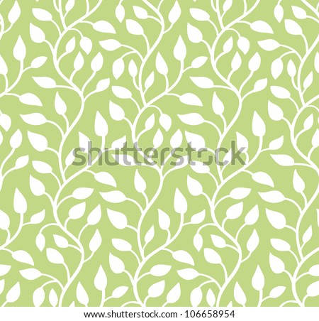 Seamless green leaf pattern. Vector illustration - stock vector