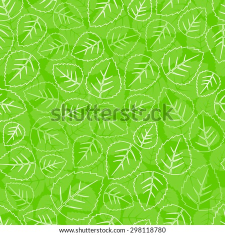 Seamless green leaves pattern background - stock vector