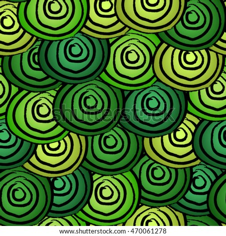 Seamless green swirls with black circles outlines background