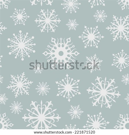 Seamless grey and white snowflakes vector background.  - stock vector
