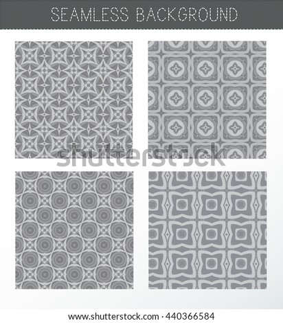 Seamless grey backgrounds collection. Set of tile and lattice patterns. Vintage decorative elements. Islam, Indian. Ceramic tile. Set  oriental ornaments. Abstract background. Kaleidoscope