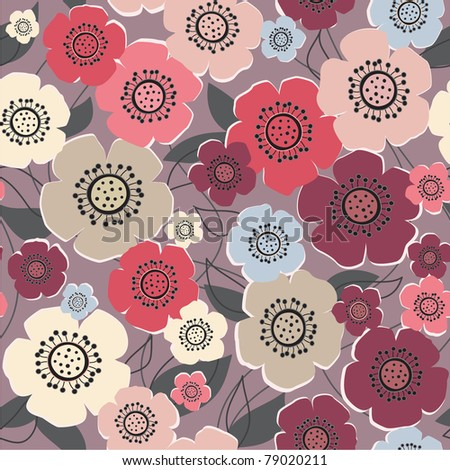 seamless grey floral background with flowers - stock vector