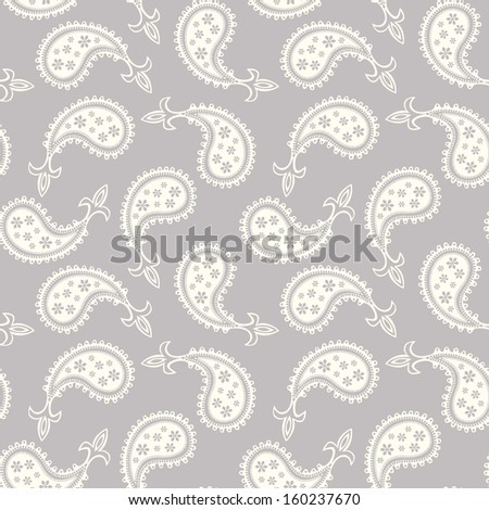 Seamless grey/white paisley pattern background  - stock vector