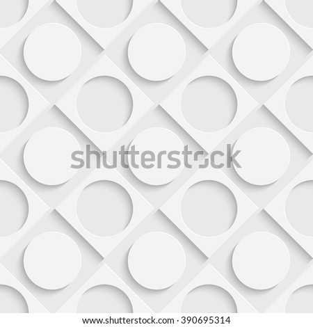 Seamless Grid Pattern. Vector Circle and Square Background. Regular White Texture