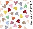 Seamless Grosgrain Heart Ribbon Pattern, Vector Illustration - stock vector