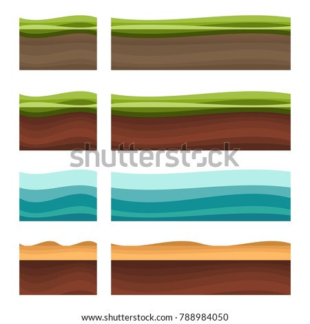 Seamless grounds, soil and grass for ui game illustration of a set of various seamless grounds. Ground grass game vector