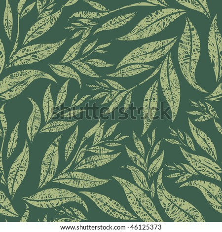 "Seamless grunge floral pattern with leafs (From my big ""Seamless collection"")"