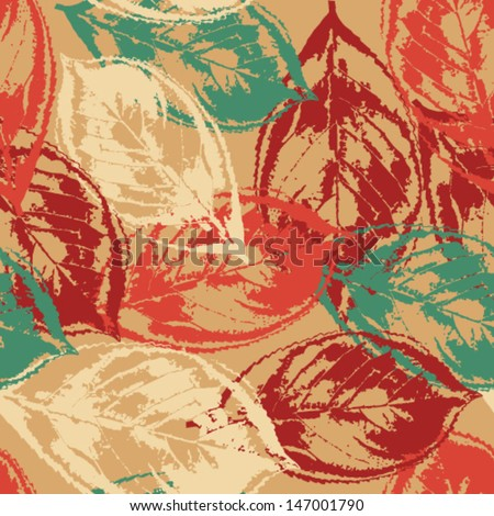 Seamless grunge pattern with colorful leaves on warm background - stock vector