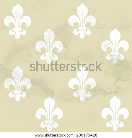 Seamless grungy vintage pattern from Fleur-de-lys - stock vector