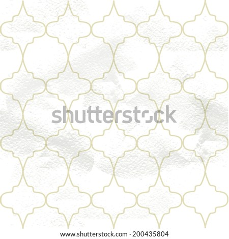 Seamless grungy vintage pattern from the ornamental openwork lattice - stock vector