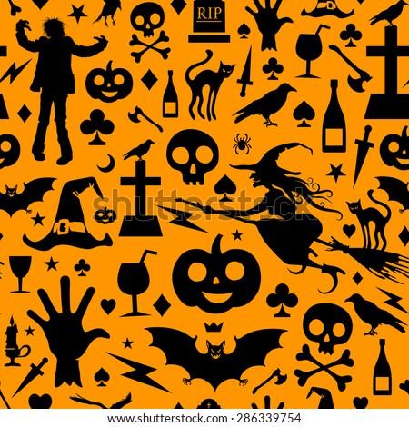 seamless halloween background - Black And Orange Halloween