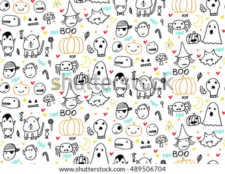 Seamless Halloween pattern for card, banner, poster templates. Hand drawn traditional symbols, cute design elements, handwritten ink lettering. Made in the technique of hand drawing. Children's style.