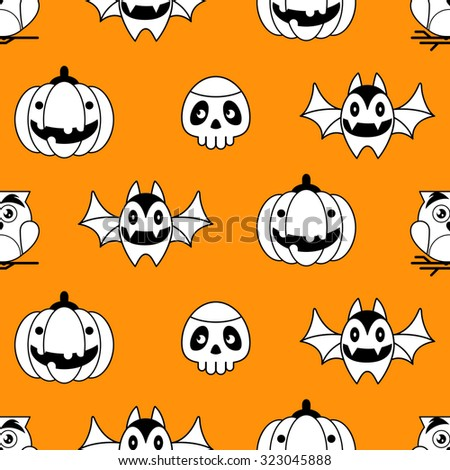 Seamless Halloween pattern with cute owl,pumpkin, skull and bat character icons