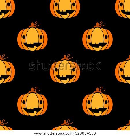 Seamless Halloween pattern with cute pumpkins over black background - stock vector