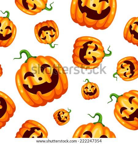 Seamless Halloween pattern with happy pumpkins - stock vector