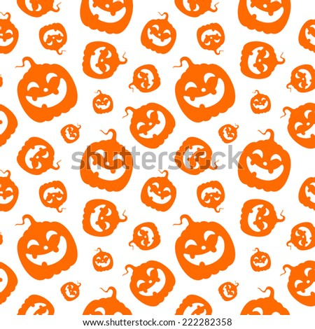 Seamless Halloween pattern with happy pumpkins - stock vector
