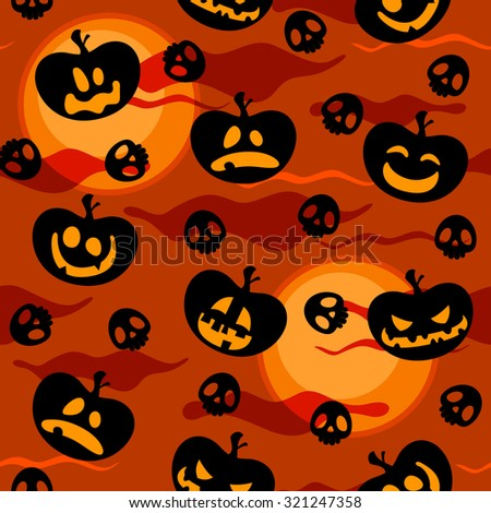 Seamless Halloween pattern with pumpkin faces, skulls and full moons - stock vector