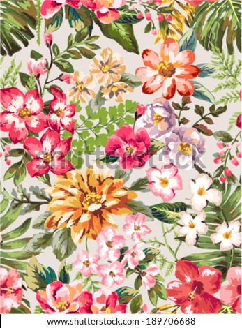 seamless hand draw tropical flower blossom vector pattern - stock vector