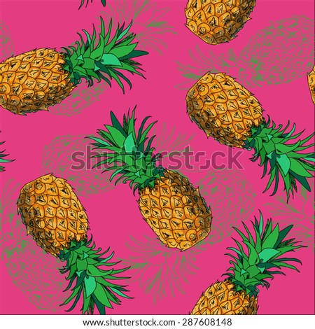 Seamless hand drawing pineapples pattern on pink background - stock vector