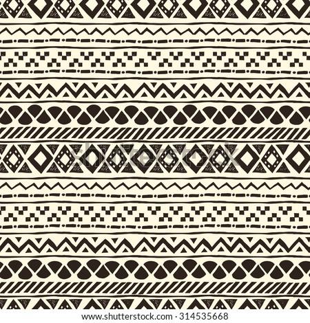 Seamless hand drawn aztec pattern, vector illustration - stock vector