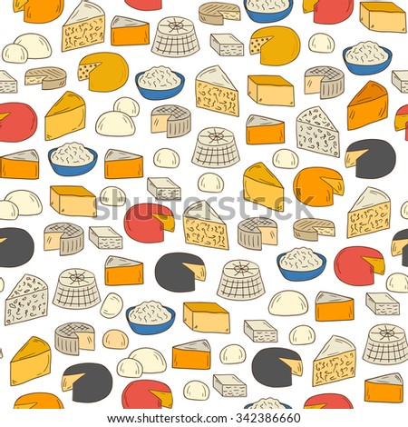 Seamless hand drawn background on cheese types theme
