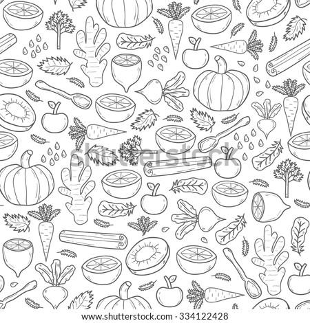 Seamless hand drawn background on detox theme. Raw vegan concept - stock vector
