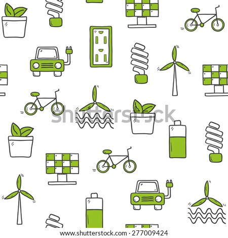 Seamless hand drawn background on renewable energy theme for your design - stock vector