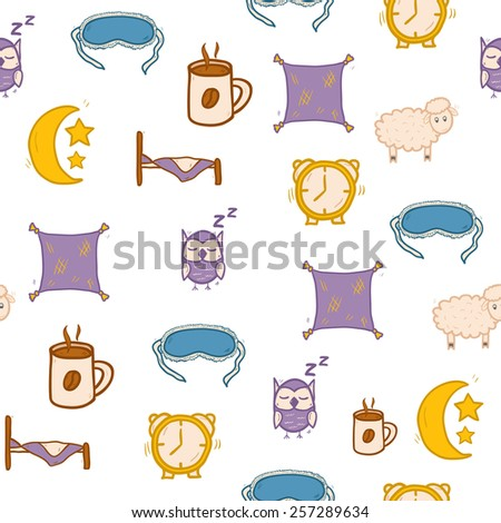 Seamless hand drawn background on sleep theme for your design - stock vector