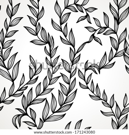 Seamless hand drawn black and white elegant floral background. Eps10 - stock vector