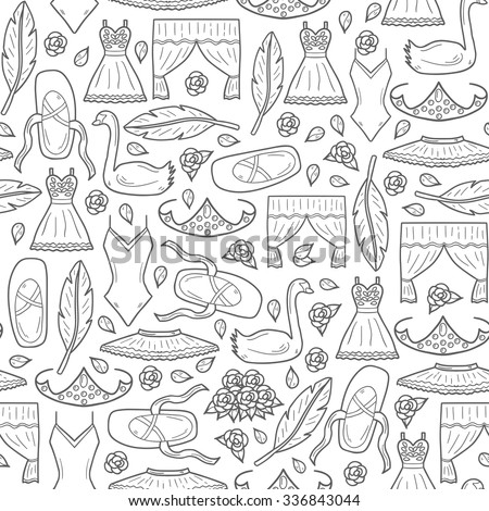 Seamless hand drawn cartoon background on ballet theme: swan, shoes, dress, tutu, diadem - stock vector