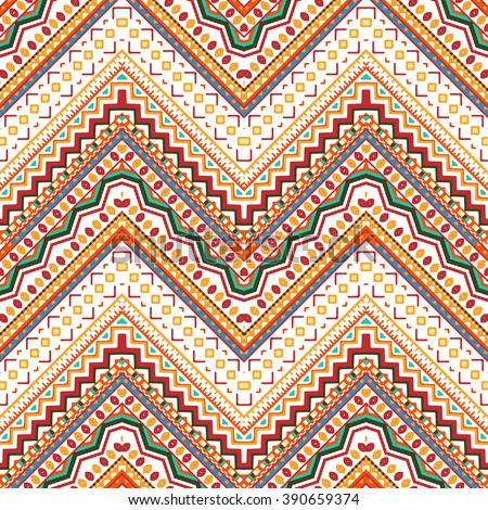 Seamless hand drawn chevron pattern with Aztec ethnic and tribal ornament. Vector bright colors boho fashion illustration. - stock vector
