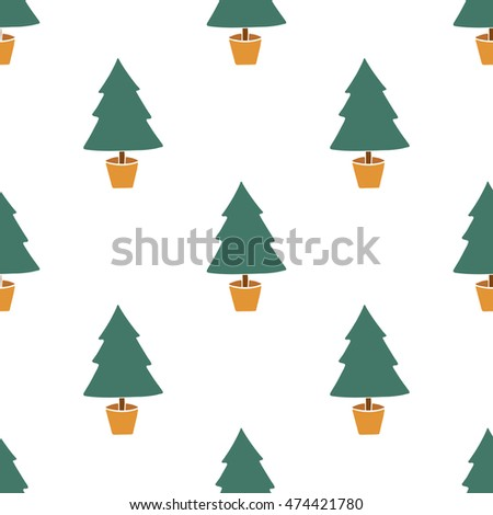Seamless hand drawn christmas tree pattern on white background.