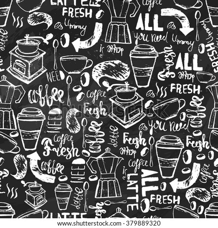 Seamless hand-drawn coffee  seamless pattern.  Coffee pattern with lettering. Vector Coffee pattern  on dark background for wrapping, banners - stock vector
