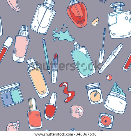 Seamless hand drawn cosmetics pattern in vector - stock vector