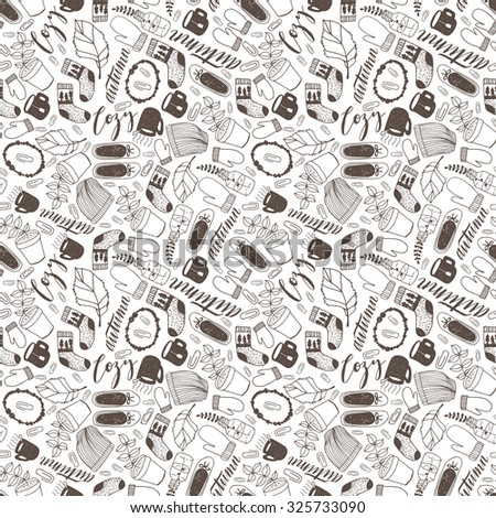 Seamless hand drawn doodle autumn cozy fall seamless pattern. Vintage vector illustration for wallpapers, fabric and scrapbooking.