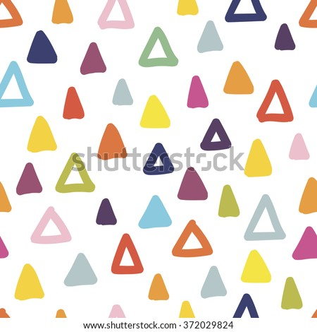 Seamless hand drawn geometric pattern. Seamless abstract doodle triangle geometrical background. Infinity geometric pattern. Vector illustration. - stock vector