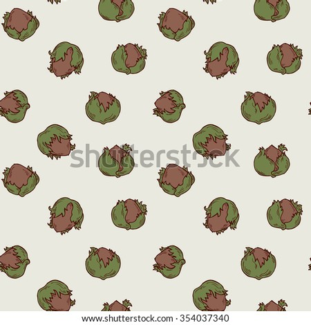 Seamless hand drawn hazelnut pattern in vector - stock vector