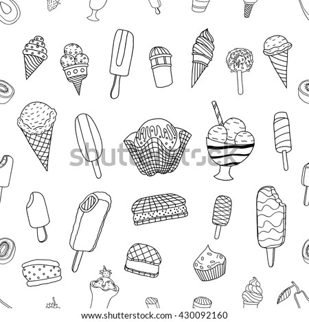 Seamless hand drawn ice cream pattern, monochrome background, vector illustration - stock vector