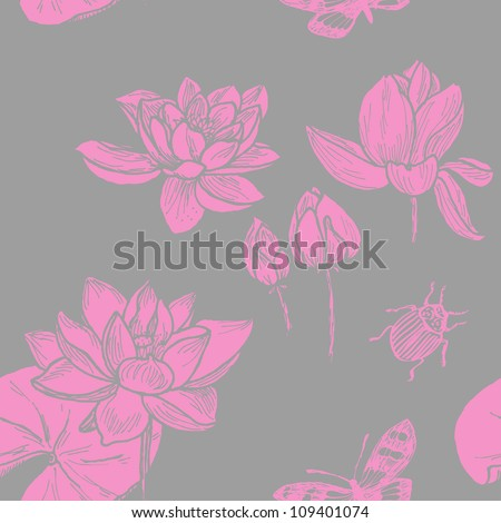 Seamless hand-drawn lotos pattern in chinese style - stock vector