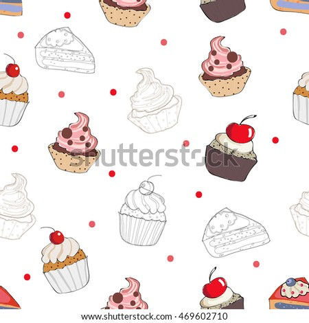 Seamless hand drawn pattern with cakes and different sweets. Vector illustrations. Vector cakes.Vector cupcakes. Sweet illustrations. Cakes seamless pattern set. Hand drawn seamless pattern with cakes