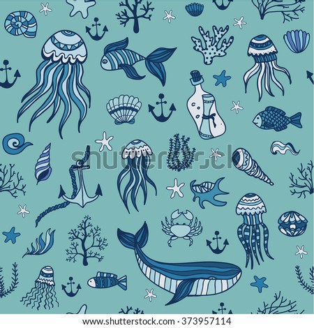 Seamless hand drawn pattern with cute linear marine animals and plants. Vector illustration