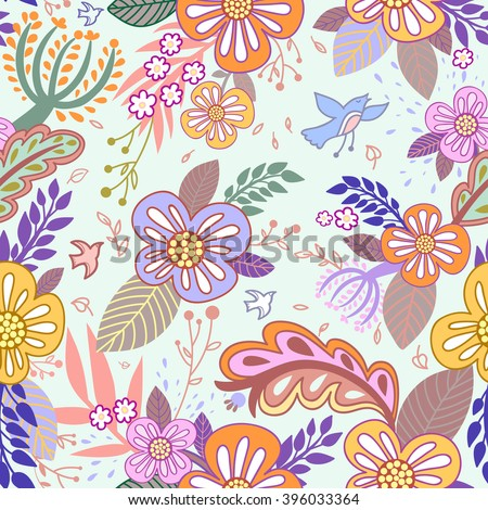 Seamless hand-drawn pattern with flowers, leaf and birds.