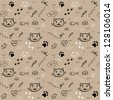seamless hand drawn pattern with funny cats on the light brown background vector - stock vector