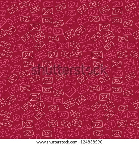 Seamless hand drawn pattern with love letters. Vector illustration