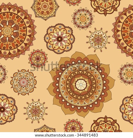 Seamless hand drawn pattern with mandala